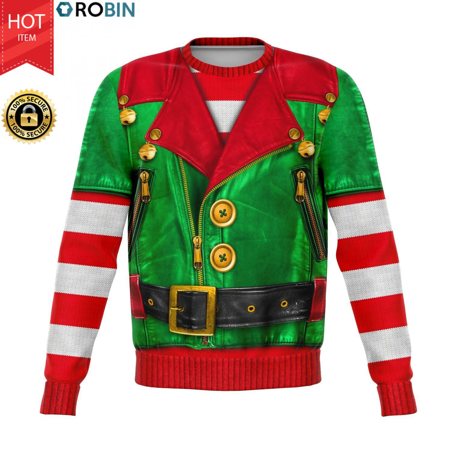 Sons Of Santa North Pole Skull The Elf 3D Allover Printed Wool Sweater