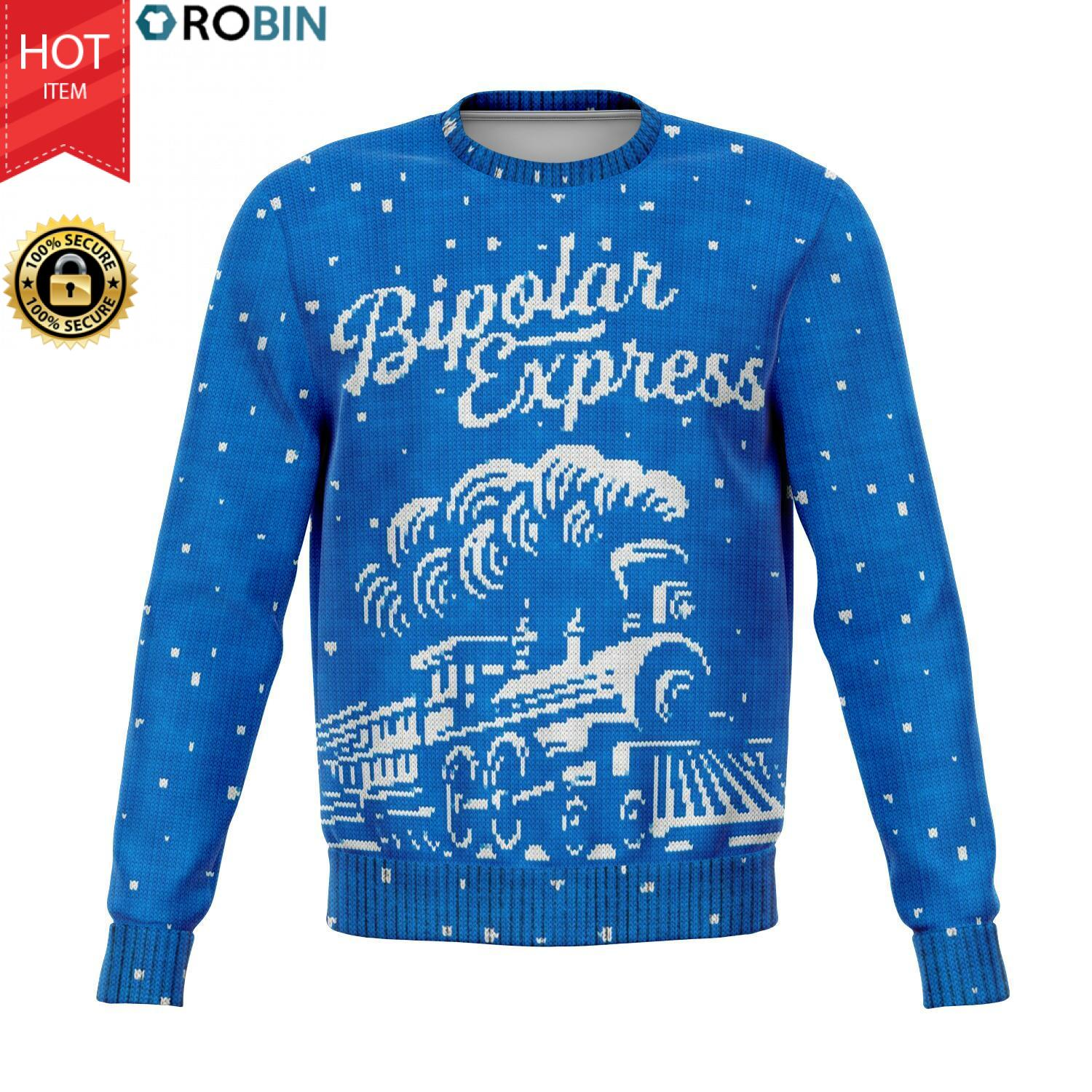 The Bipolar Express Train Christmas 3D Allover Printed Wool Sweater