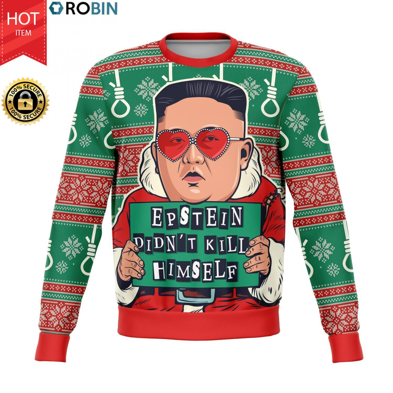 Epstein Didn't Kill Himself Kim Jong-un All-Over Printed Wool Sweater