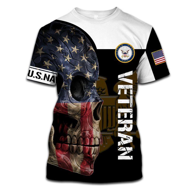 Us Navy Veteran Skull Full Print Hoodie, T Shirt, Bomber
