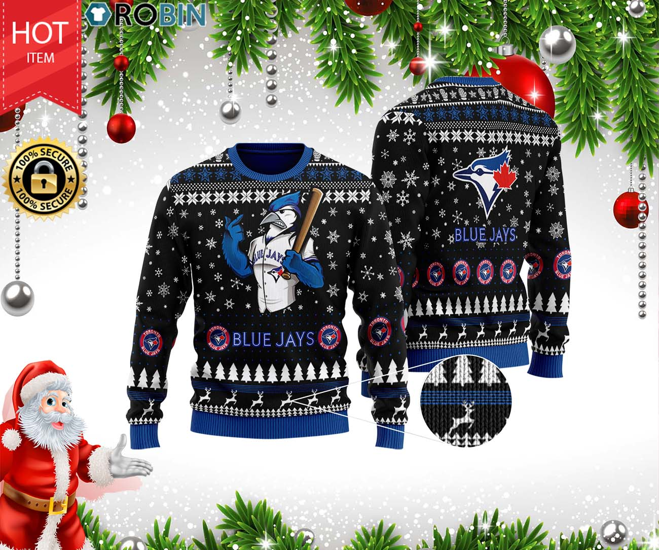 Toronto Blue Jays Full Print Ugly Christmas Wool Sweater 3D