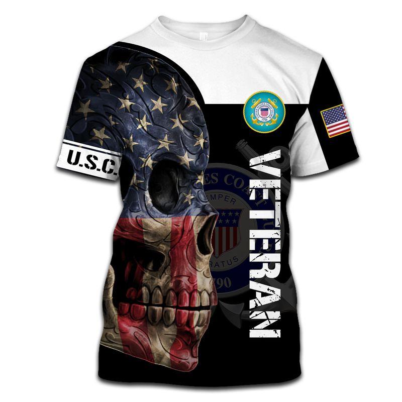 Us Coast Guard Veteran Skull All Over Print Hoodie, T Shirt, Bomber