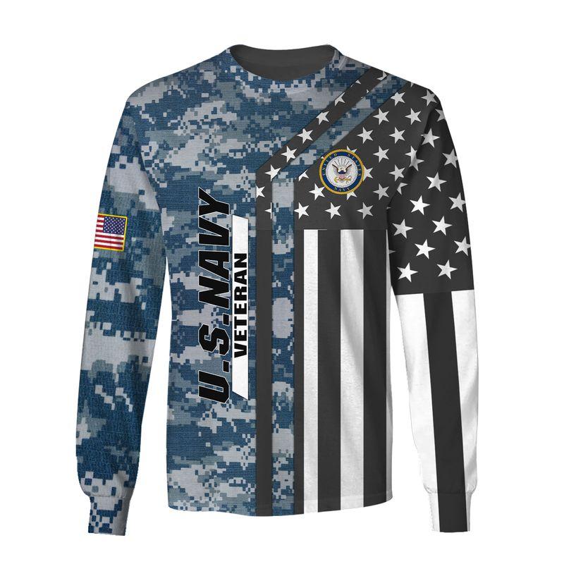 Us Navy Veteran Camouflage Bald Eagle AOP Hoodie, T Shirt, Bomber
