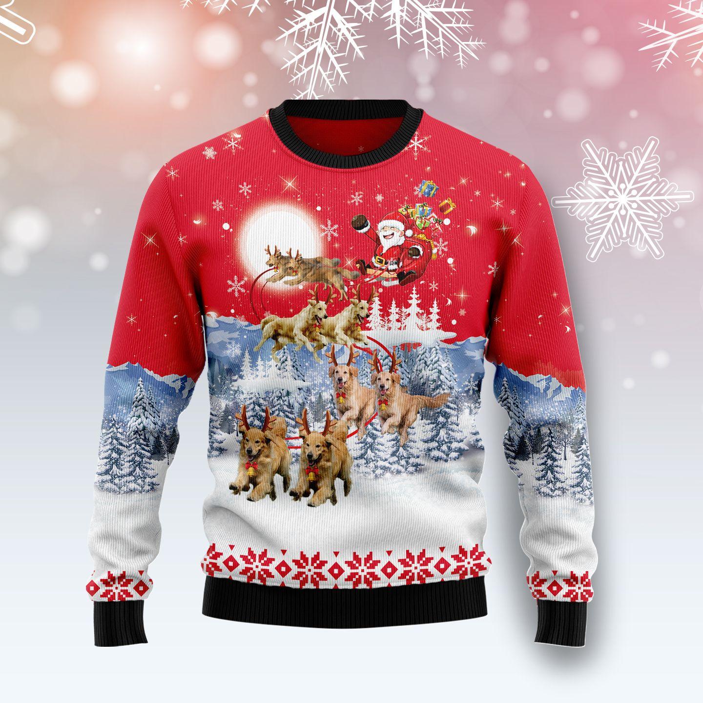 Golden Retriever Santa Claus Christmas Wool Sweater