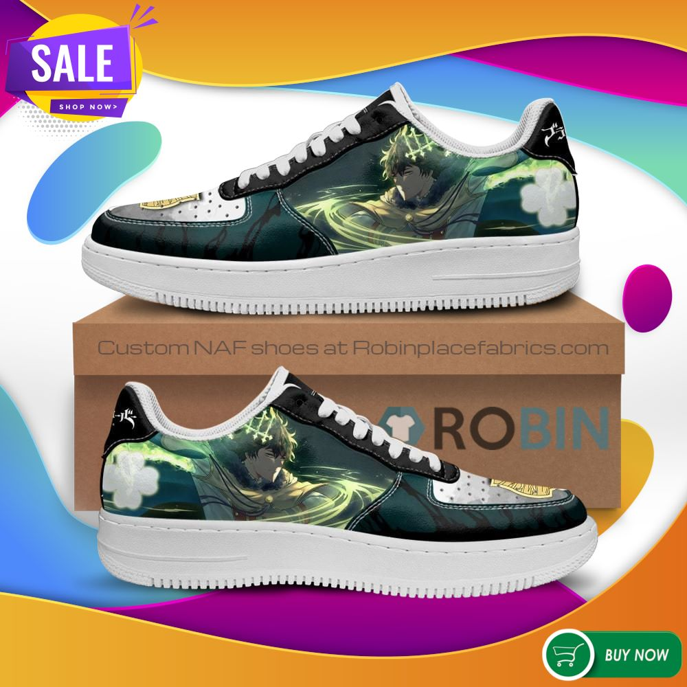 Yuno Air Force Sneakers Golden Dawn Magic Knight Black Clover Anime NAF Shoes