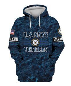 US Navy Veteran Camouflage 3d Hoodie, T-shirt NV3101