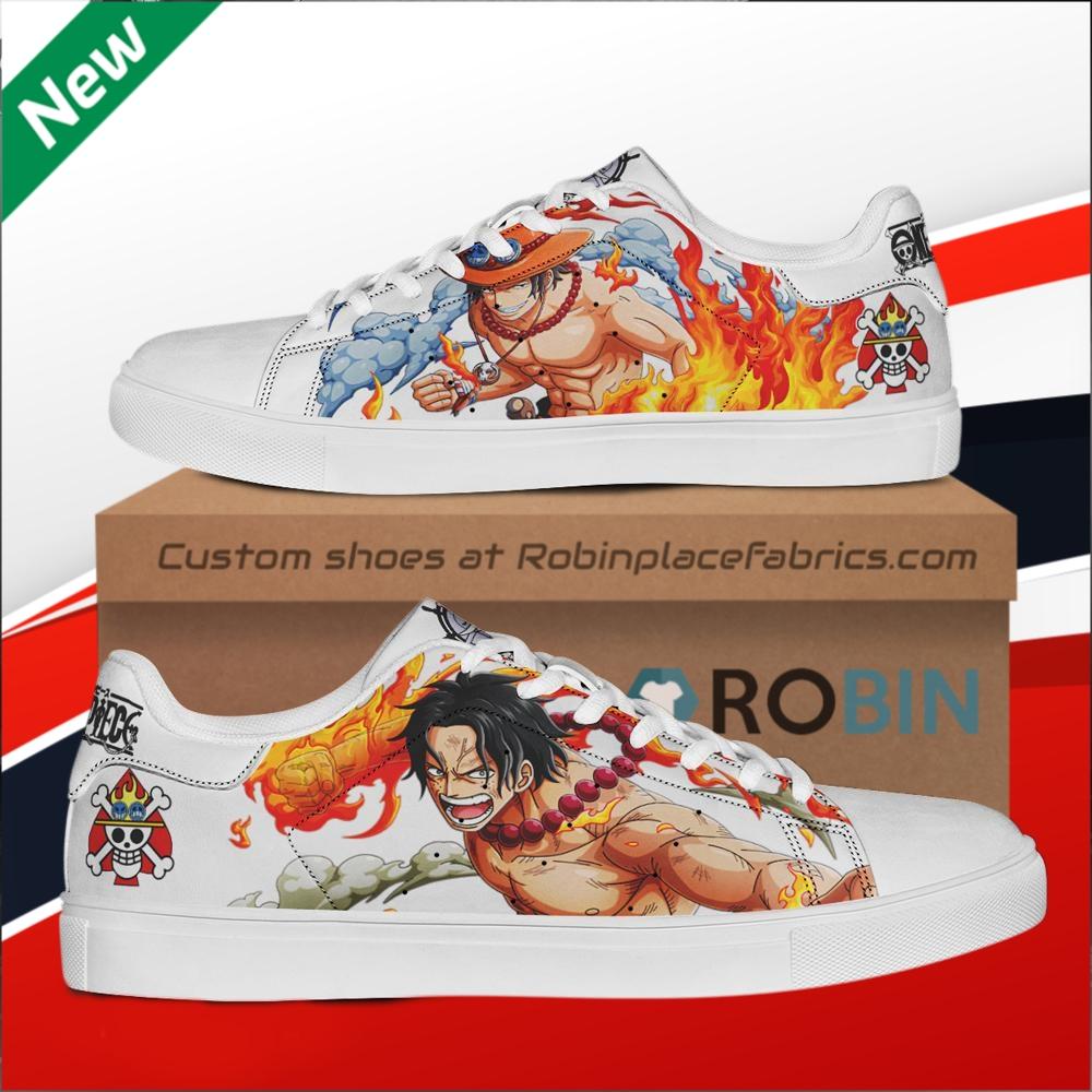 Portgas D Ace One Piece Custom Stan Smith Shoes Robinplacefabrics