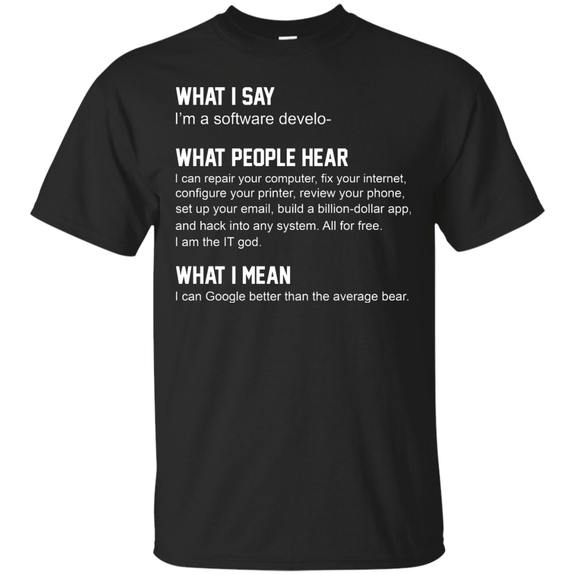 Developer Funny shirts what people hear when i say i'm a software developer shirt
