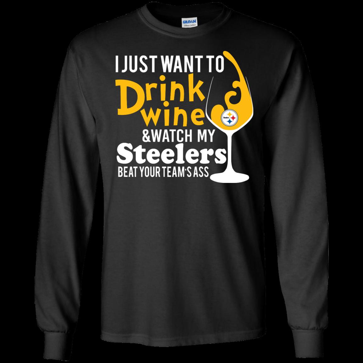 buy online 3571e 31743 I just want to drink wine & watch my steelers tshirt, vneck, tank, hoodie