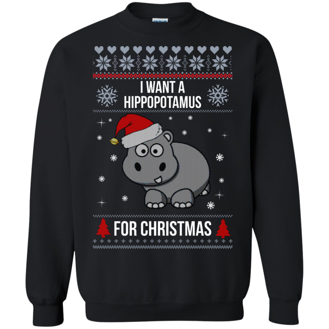 Hippopotamus Christmas Sweater I Want A Hippopotamus For Christmas