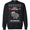 Hippopotamus Christmas Sweater - I Want A Hippopotamus  For Christmas