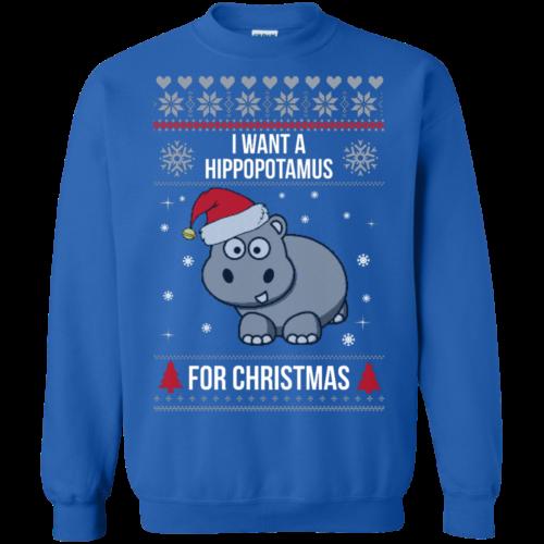 Hippopotamus Christmas Sweater I Want A Hippopotamus For Christmas