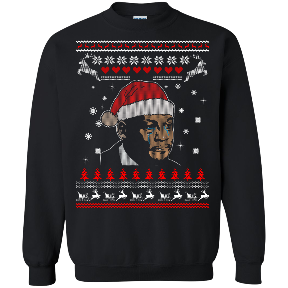 Crying Jordan Christmas Sweater, Long Sleeve