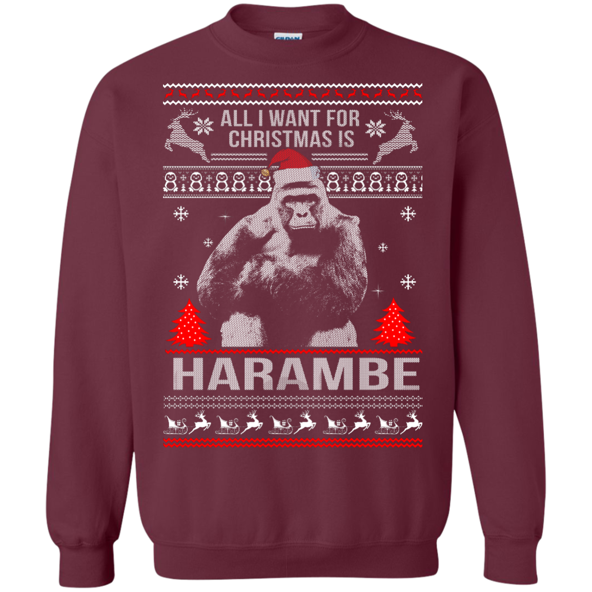 All I Want For Christmas Is Harambe Sweater, Long Sleeve