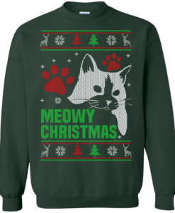 Meowy Christmas Sweater, T-Shirt - Cat Lovers Christmas Gift