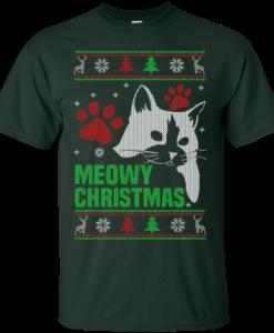 Meowy Christmas Sweater.Meowy Christmas Sweater T Shirt Cat Lovers Christmas Gift